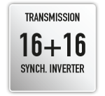 Cambio sincronizzato 16+16 marce con invertitore sincronizzato; PTO di serie 540/540E sincronizzata con innesto a frizione in bagno d'olio a comando elettroidraulico progressivo; Avviamento di sicurezza su inversore e PTO; Bloccaggio differenziale ant/post, simultaneo o solo posteriore, a comando elettroidraulico; Frizione trasmissione a comando idraulico.