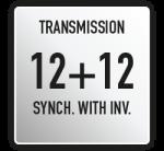 Cambio 12+12 con inversore; PTO posteriore indipendente a comando meccanico; bloccaggio differenziale ant/post, a pedale, a comando meccanico, con disinnesto automatico; interruttore acciamento di sicurezza su invertitore e PTO.