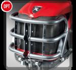 Elemento in tubolare d'acciaio a salvaguardia della carrozzeria; untegra l'attacco del terzo punto nella configurazione con il sollevatore anteriore.