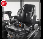 Molleggio sedile pneumatico a regolazione continua del peso conducente da 50 a 130 kg e regolazione continua in altezza.