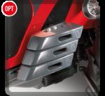 Zavorre anteriori (132 kg) Perfettamente integrate nella carrozzeria del trattore, non alterano il passo e l'ingombro del trattore.